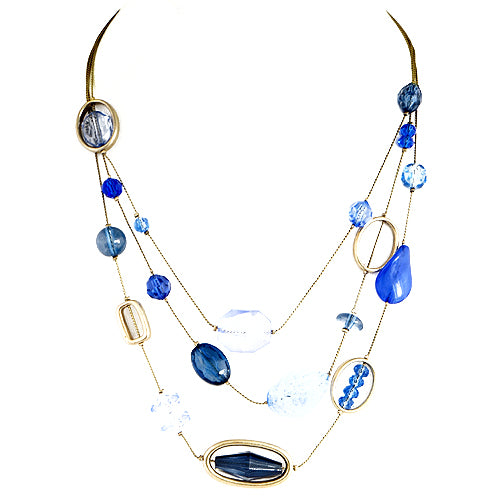Blue Multi Beads Three-Strand Silver Necklace