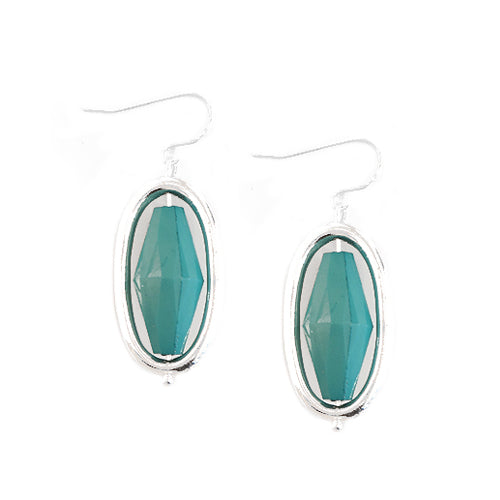 SILVER TURQUOISE BEAD SILVER OVAL SHAPED EARRINGS