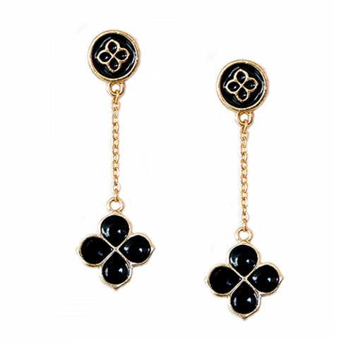Black Four Leaf Clover Gold Dangling Earrings