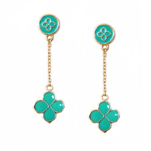 Turquoise Four Leaf Clover Gold Dangling Earrings