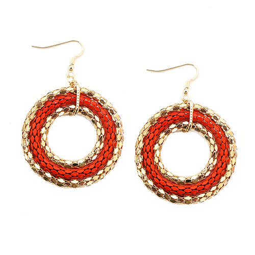 Coral and Gold Metal Round Earrings