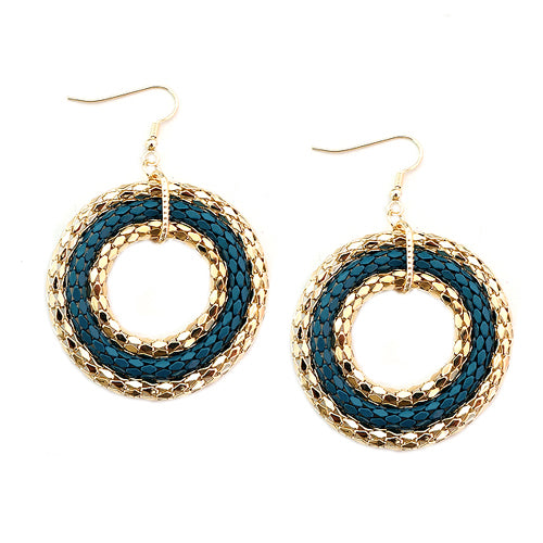 Teal and Gold Metal Round Earrings