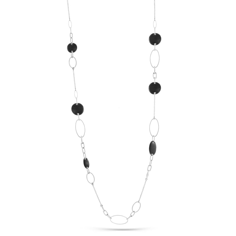 Rhodium Black Enamel Necklace