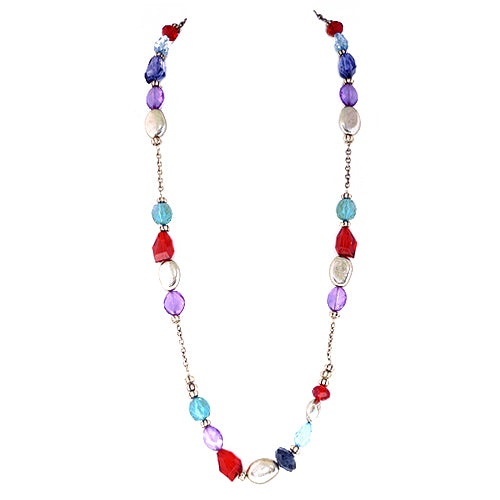 Multi Colored Beads Gold Long Necklace