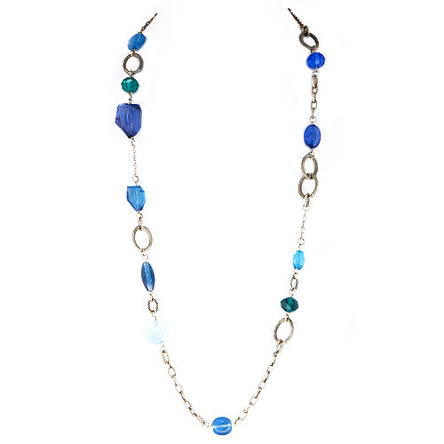 Blue and Green Mixed Beads Gold Long Necklace