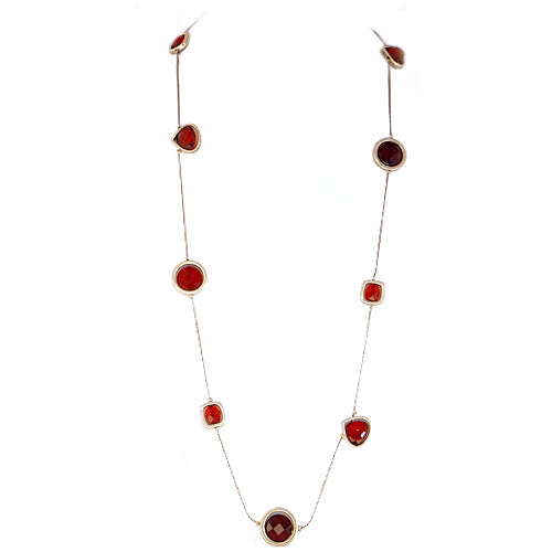 Red Mixed Beaded Gold Long Necklace