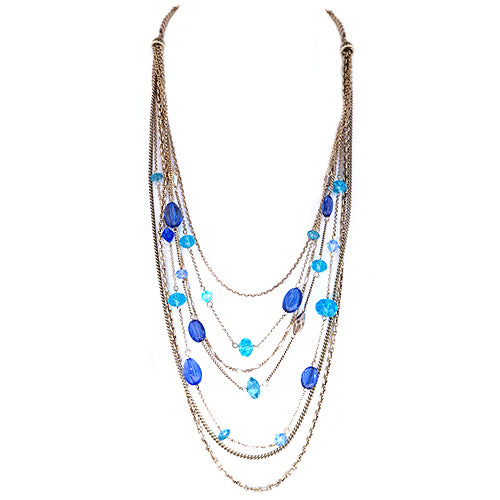 Blue Mixed Beads Gold Layered Necklace