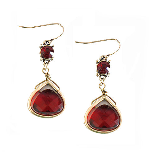 Gold Triangle with Red Mixed Bead Dangling Earrings