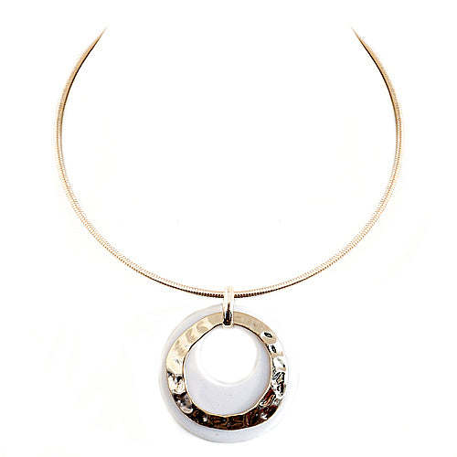 Hammered Gold and White Ring Double Pendant with Gold Choker Necklace