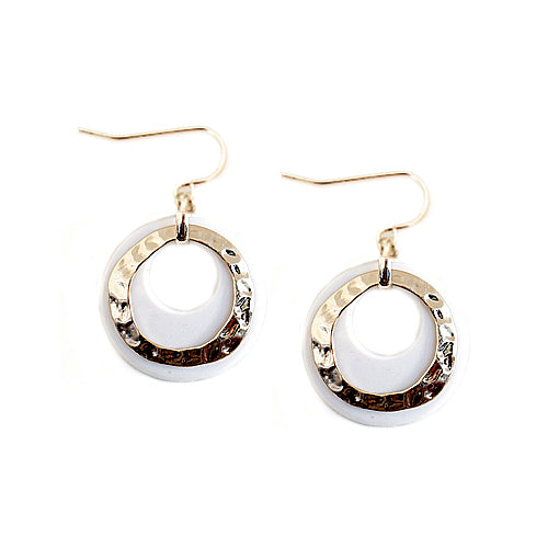 Hammered Gold and White Ring Double Earrings