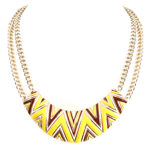 Yellow Mixed Multi Triangle Pattern Gold Necklace