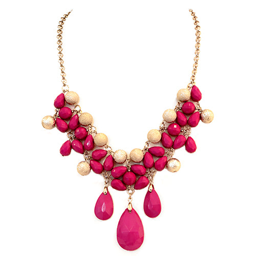 Fuchsia Teardrop Beads with Gold Textured Ball Bib Necklace