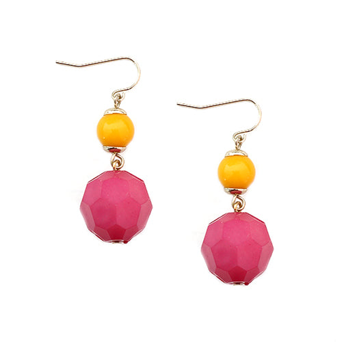 Pink and Yellow Beaded Gold Dangle Earring