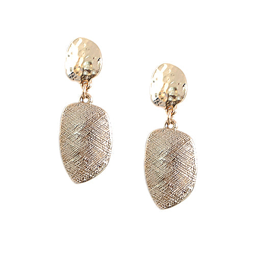 Approx. Size: 35mm Gold Brushed and Hammered Dangle Earrings