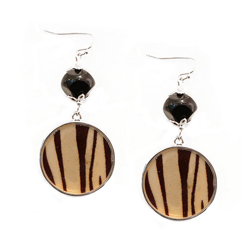 Animal Printed Round with Black Bead Silver Earrings