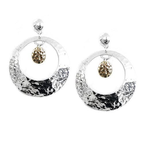 Silver Hammered Open Round with Gold Round Metal Stud Earrings