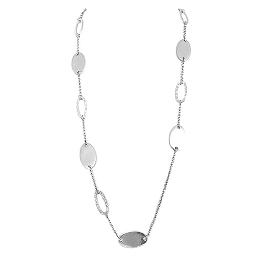Silver Metal Oval Shape Bead Long Necklace