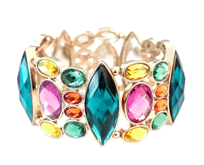 Multi colored gold bracelet embellished with stones