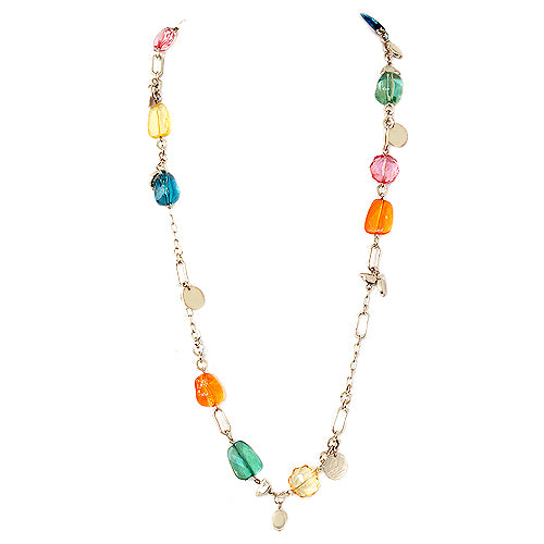 Multi Color Beads with Gold Coin Long Necklace