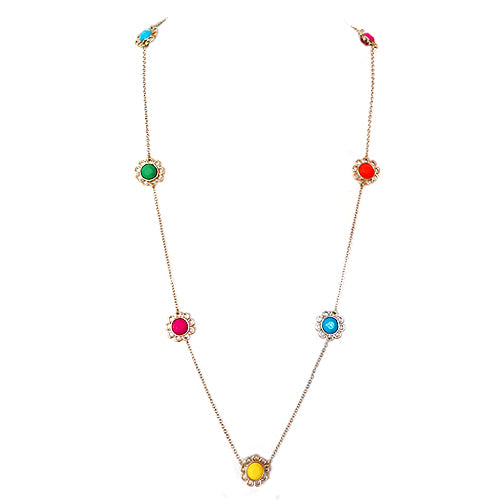 Multi Color Mixed Gold Flower Long Necklace