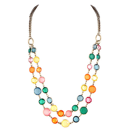 Multi Rainbow Beads Gold Two-Strand Necklace