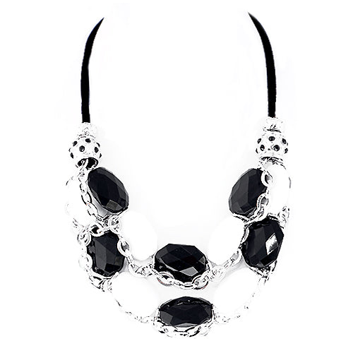 Black and White Mixed Beads with Silver Chain Black Suede Necklace