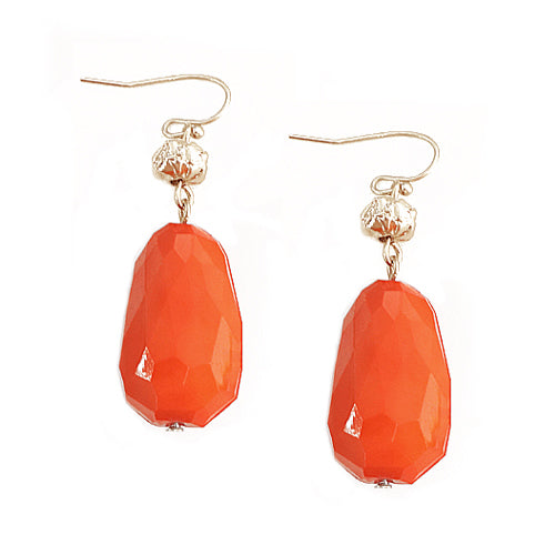 Coral Cut Beads with Gold Bead Earring