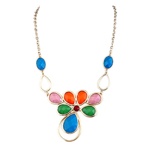 Multi Cut Glass Crystal Flower Gold Necklace
