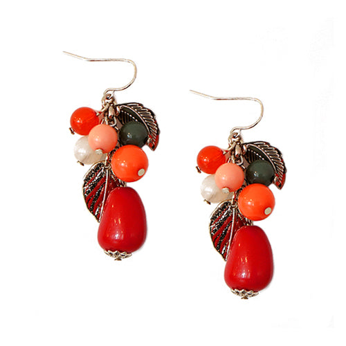 Coral Bead Mixed with Metal Leaf Gold Charm Earrings