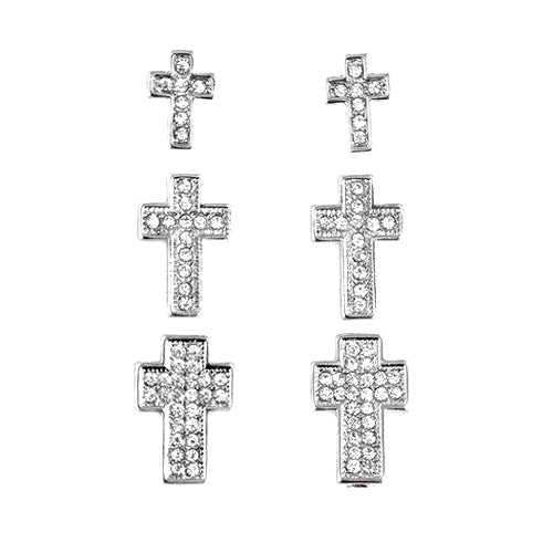 Rhinestone Silver Cross Stud Earrings Set of 3pairs