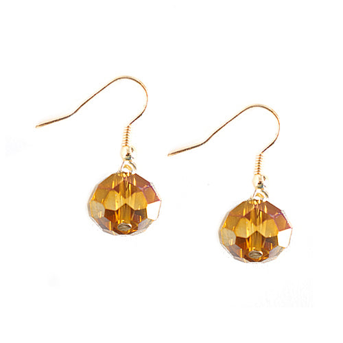 Brown Glass Crystal with Gold Dangle Earrings