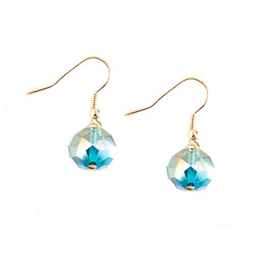 Blue Glass Crystal with Gold Dangle Earrings
