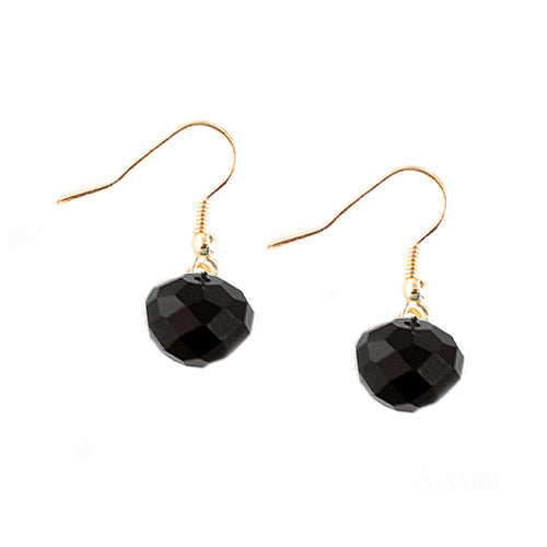 Jet Glass Crystal with Gold Dangle Earrings