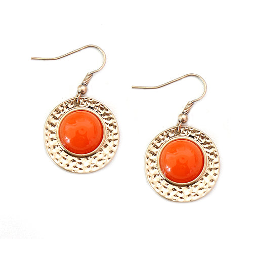 Coral Beads with Gold Round Hammered Earrings