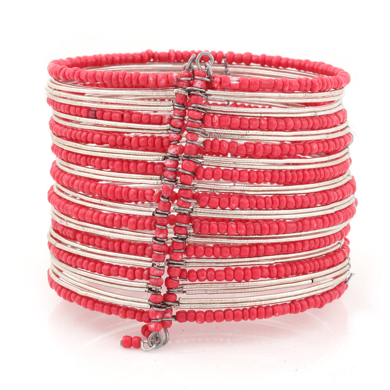 Silver-Tone Red Seed Bead Hinged Bracelets