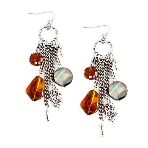 Brown Bead and Mother of Pearl Charm Silver Earrings