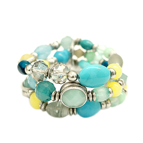Blue Green Yellow Mixed Multi Beaded Stretch Bracelet