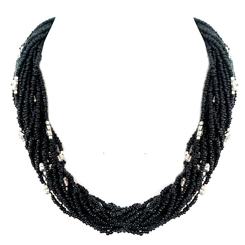 Black Seed Beaded with Silver Metal Bead Necklace