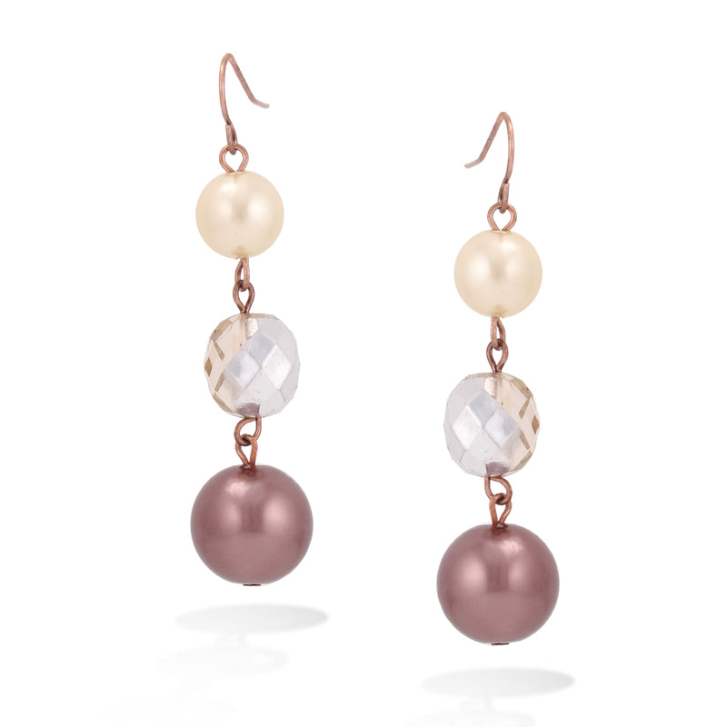 Rose Gold-Tone Brown And Cream Pearl Earrings
