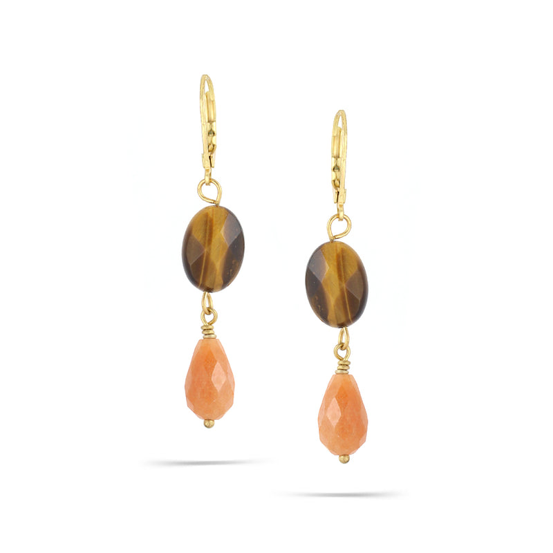 Gold-Tone Metal Tiger Eye Earrings