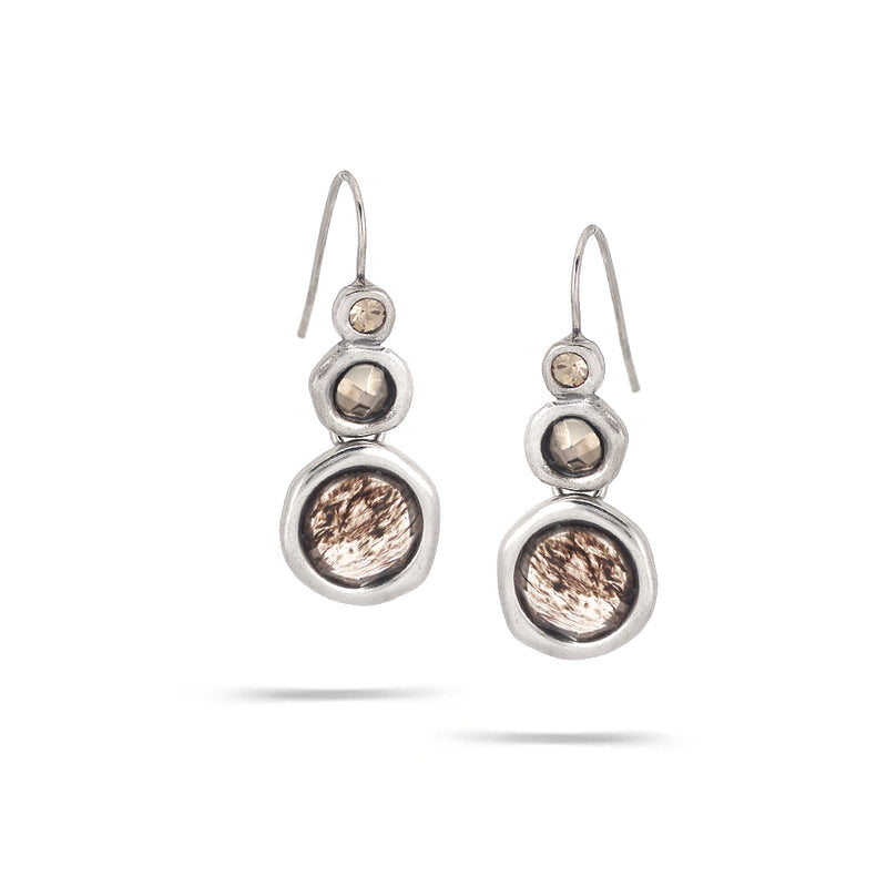 Rhodium-Tonemetal Smokey Crystal Faceted Earrings