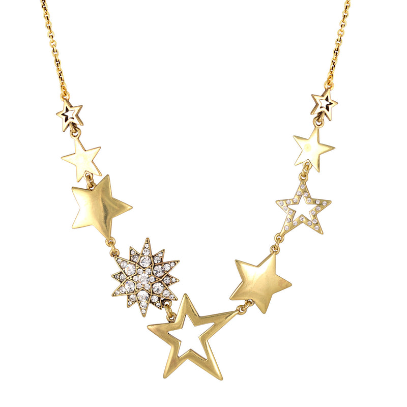 Gold-Tone Metal Star Crystal Adjustable Lobster Closure  Necklaces