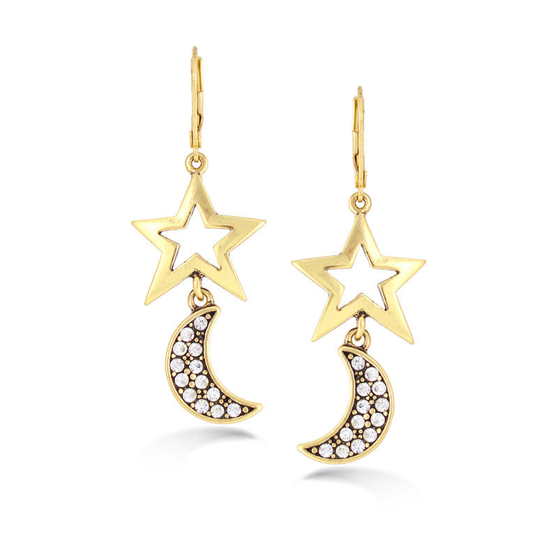 Gold-Tone Metal Star And Moon White Crystal Earrings