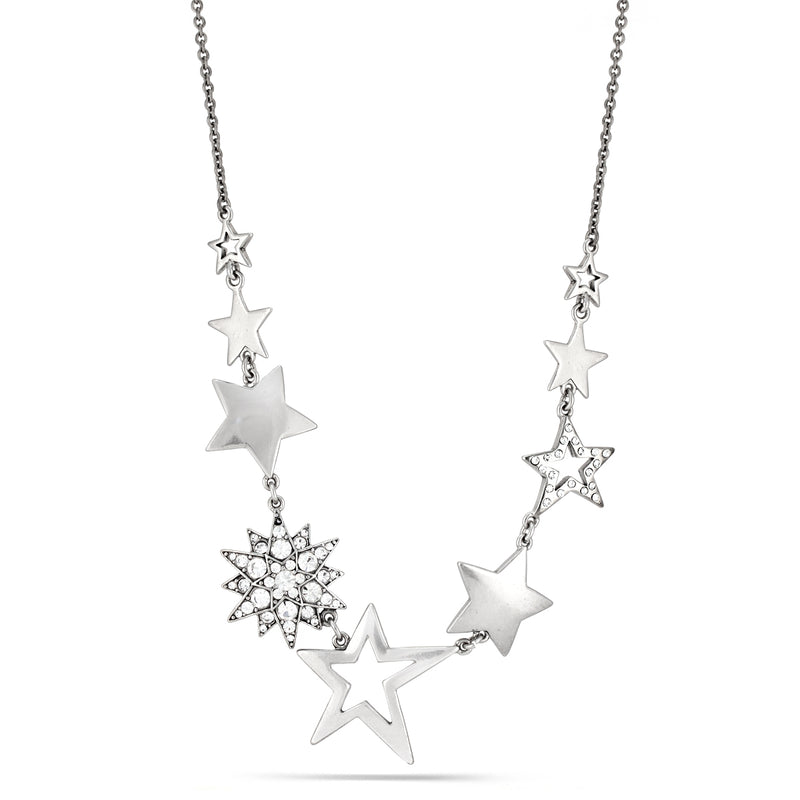 Rhodium-Tone Metal Star White Crystal Necklace