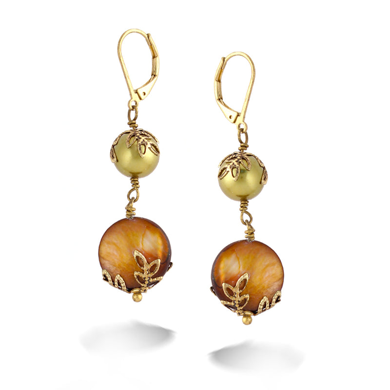 Gold-Tone Metal Gold Pearl And Gold Mop Earrings