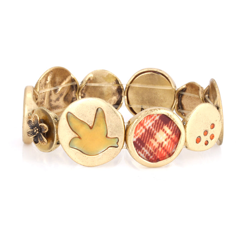 Gold-Tone Metal Multi Motif Pendant Stretch Bracelets