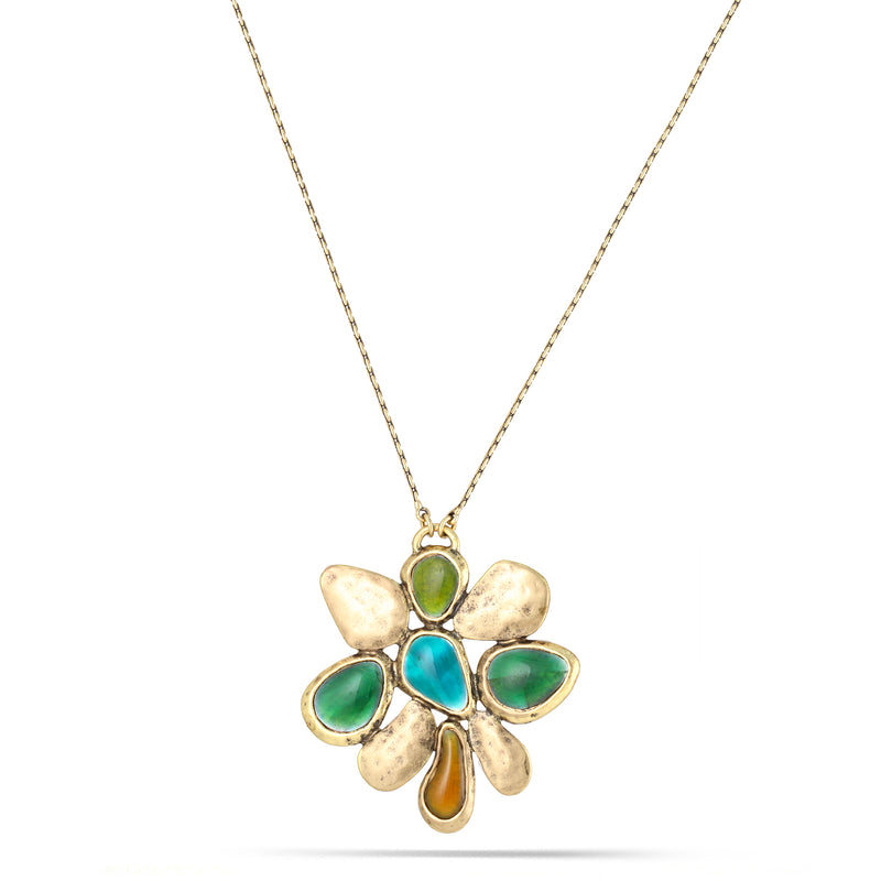 Gold-Tone Metal Green Pendant Necklace