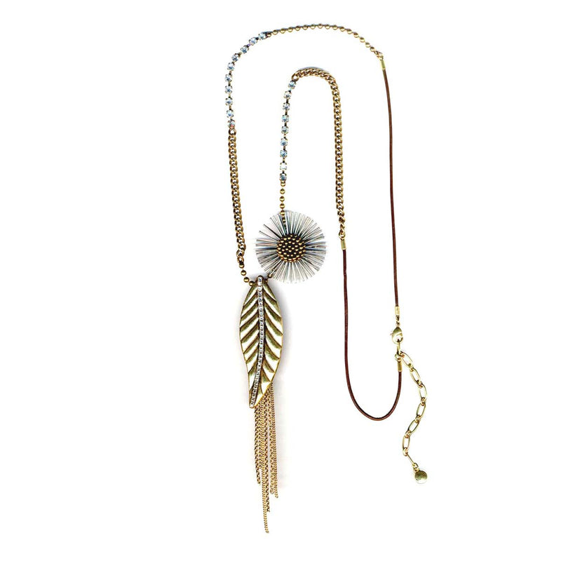 Gold-Tone Metal Flower And Leaf Charm Necklace