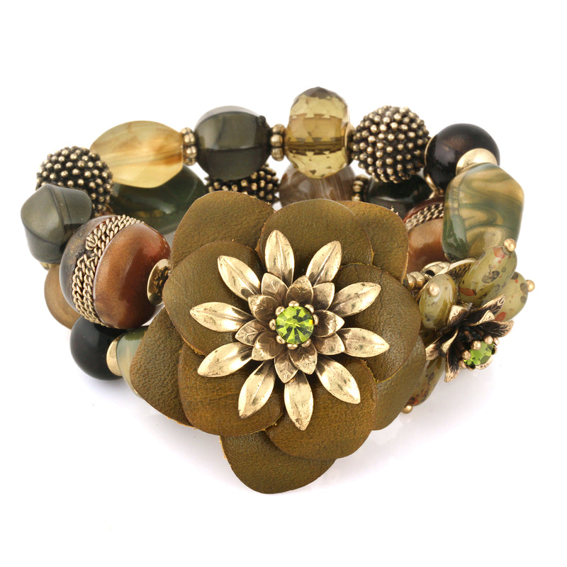 Gold-Tone Metal Mix Beads Flower Stretch Bracelets