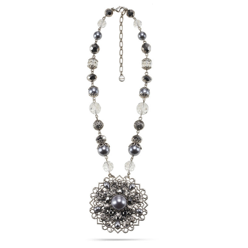 Silver-Tone Metal Hematite And Grey Pearl Filigree Pendant Necklace